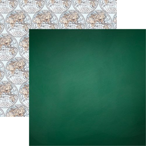 Back to School 12x12 Scrapbook Paper - Chalkboard Green - 5pc