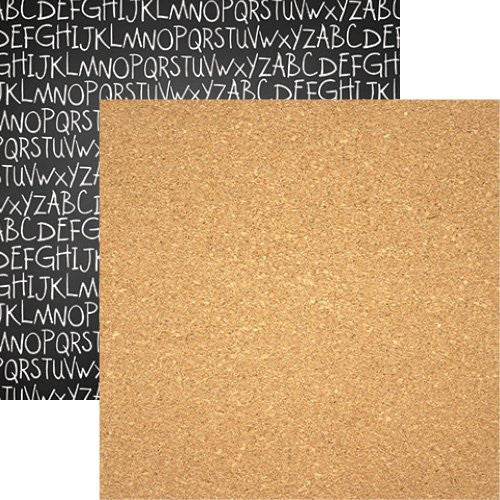 Back to School 12x12 Scrapbook Paper - Corkboard - 5pc