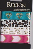 Printed Ribbon Assortment - Leopard/Diamond/Designer Ribbon