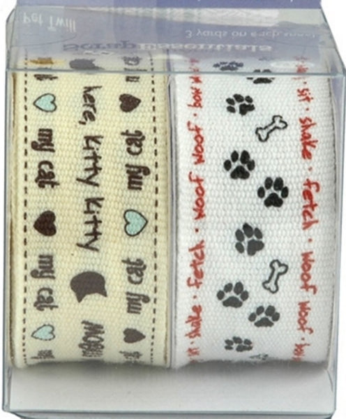 Dog and Cat Printed Twill Ribbon