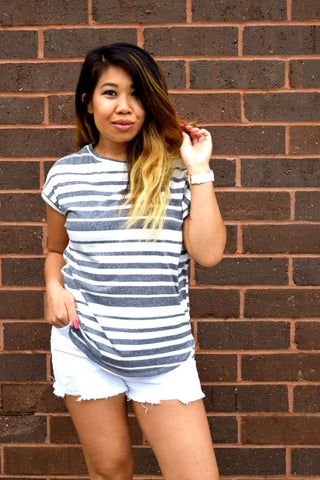 ALL TIME FAVE NAVY STRIPED TOP
