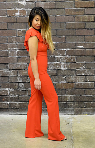 RED HOT CORAL JUMPSUIT