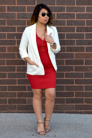 NOBODY'S BUSINESS BLAZER: IVORY