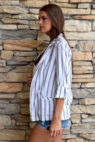 STATEMENT IN STRIPES MOCHA STRIPED BLAZER