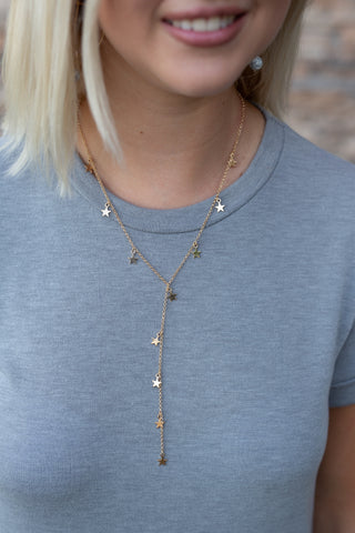 WISH UPON A STAR GOLD LARIAT NECKLACE