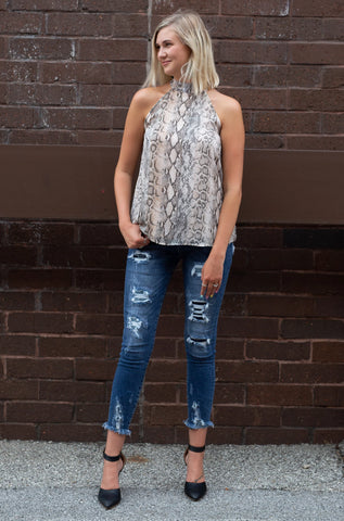 EASILY RATTLED SNAKESKIN TOP