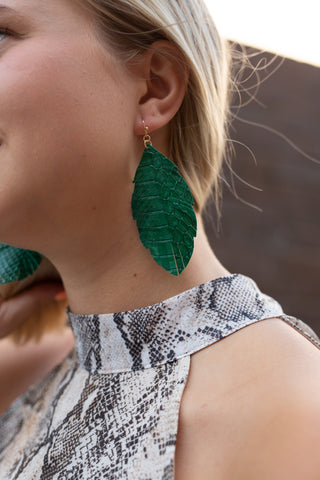 KEEP PALM AND CARRY ON GREEN FAUX LEATHER EARRINGS