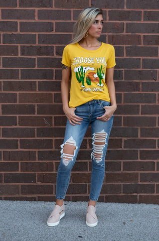 CHOOSE YOUR OWN PATH MUSTARD GRAPHIC TEE