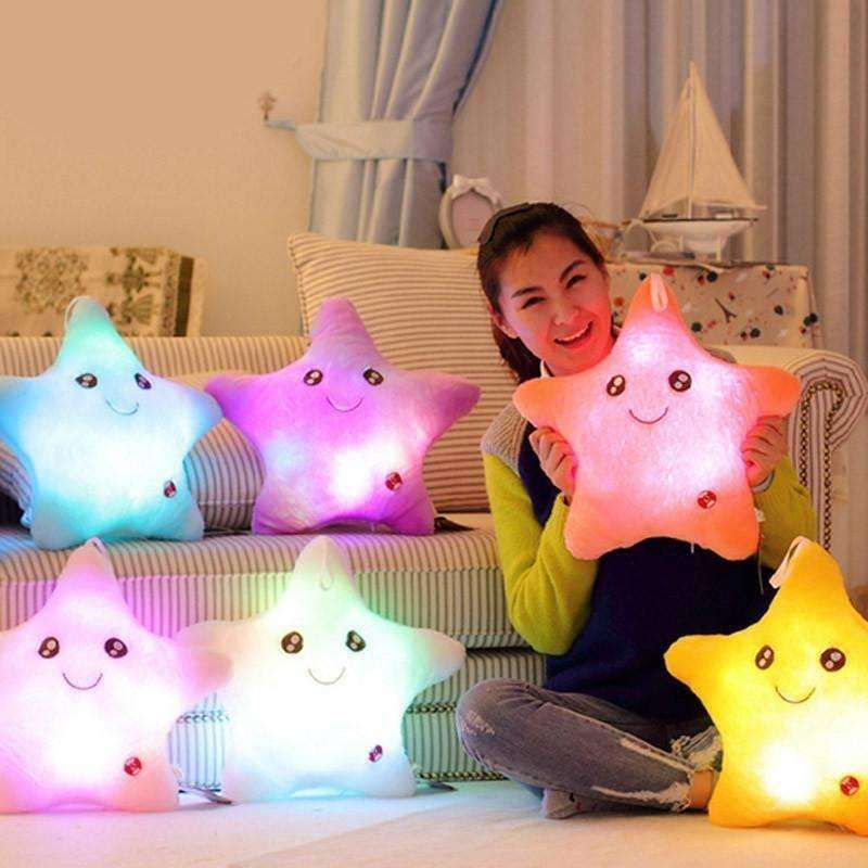 Colorful Star Shape Toys Star Glowing LED Luminous Light Pillow Soft Relax Gift - AMAZOFFER