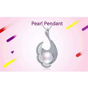 925 Silver White Pearl Pendant with 9-10MM Freshwater Pearl for Mother's Day Gift