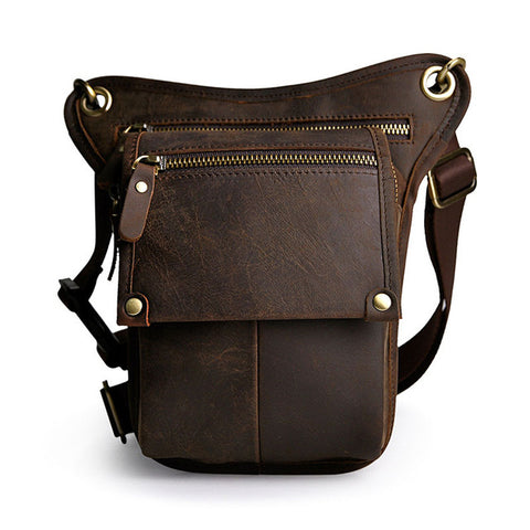 Image of Vintage Genuine Cow Leather Belt Bag Men's Waist Bag Leg Fanny Pack Shoulder BagMobile Phone Camera Tool Kits Organize Bags - AMAZOFFER