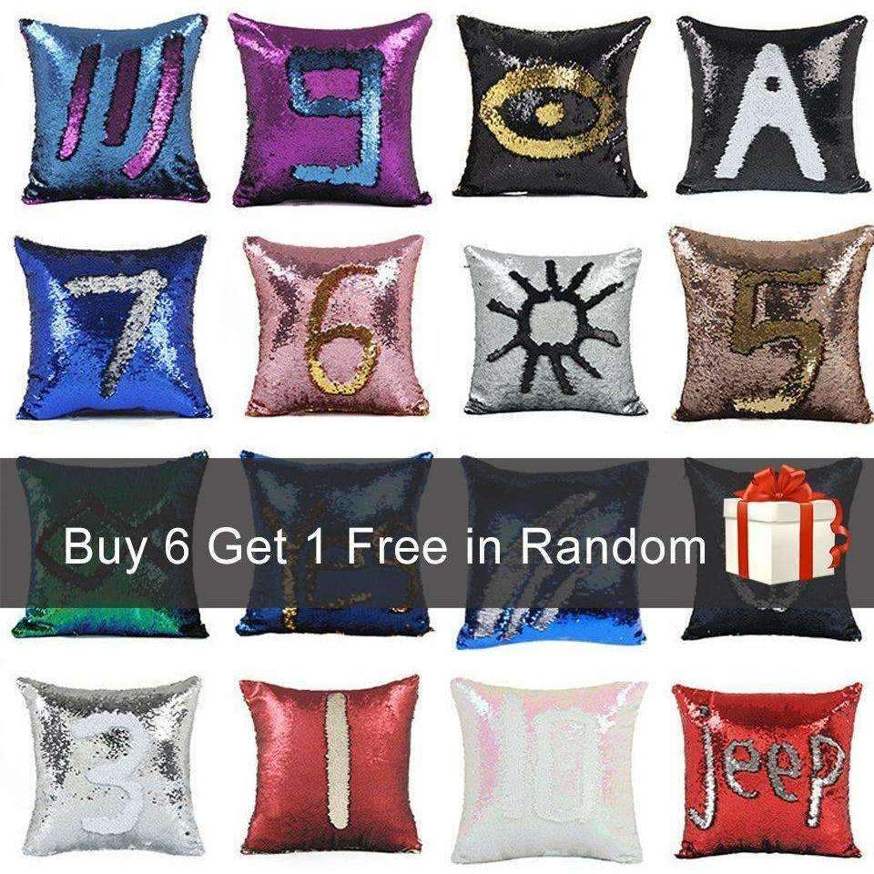 BeddingOutlet Mermaid Sequin Cushion Cover Magical Shining Pillow Case  40X40cm - AMAZOFFER