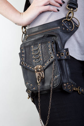 High Quality Unisex PU Leather Motorcycle Rider Hip Leg Belt Bum Waist Holster Bags Punk Rock Messenger Shoulder Cross Body Bag - AMAZOFFER
