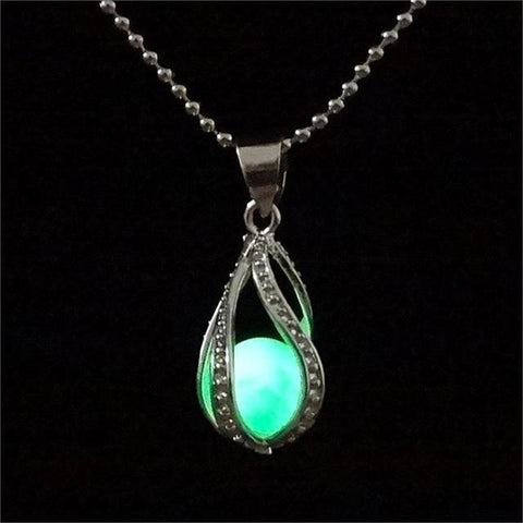 Image of Steampunk Glow In the Dark Necklace Silver Color  with Luminous Stone Locket Pendant - AMAZOFFER