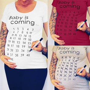 Baby Is Coming Print Women Maternity Clothing Pregnant Short T shirt Funny Top for photography photo shoot - AMAZOFFER