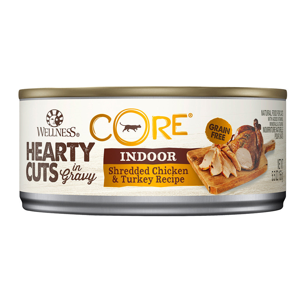20% OFF: Wellness® CORE Hearty Cuts Indoor Chicken & Turkey Canned Cat Food 156g (12/24pcs)