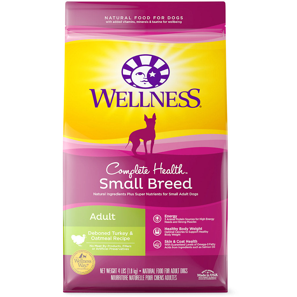 30% OFF + FREE TREATS: Wellness® Complete Health Small Breed Turkey & Oatmeal Dry Dog Food (2 sizes)