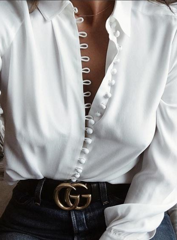 White Button Front Long Sleeve Shirt