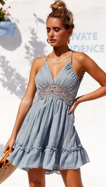 Blue Lace Insert Cami Dress