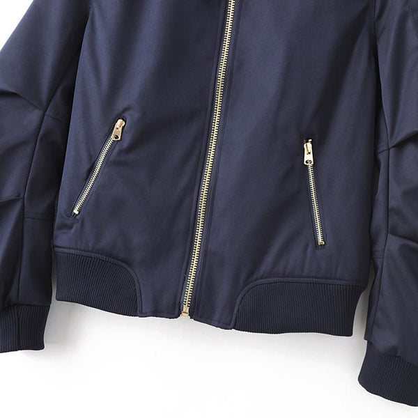 Navy Blue Pleated Bomber Jacket