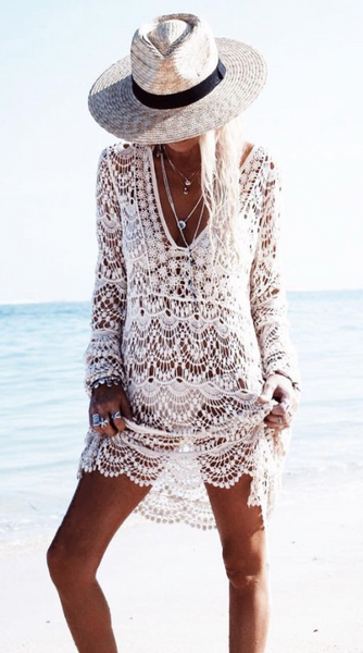 Crochet Lace Beach Coverup Dress