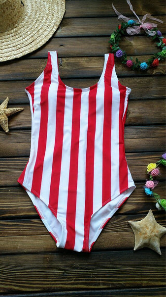 Red Bold Stripe One Piece Swimsuits