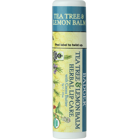 Cocoa Butter Lip Balm - Tea Tree & Lemon Balm Herbal Lip Care