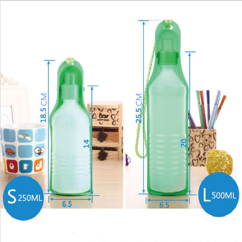 250ML & 500ML Portable Plastic Pet Dog Travel Water Bottle / Drink Dispenser - FOURPAWPALS