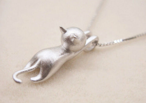 Beautiful 925 Sterling Silver Cat Pendant Necklace - FOURPAWPALS