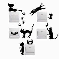 1 Set of 5 piece Removable Cute Lovely Black Cat & Kitten Switch Wall Stickers - Home Decor