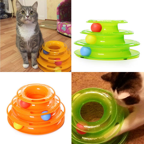Intelligent Three Levels Tower Tracks Disc Cat and Kitten Toy - FOURPAWPALS