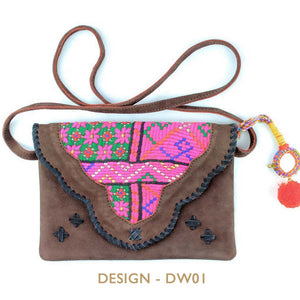 Brown suede bag with vintage fabric and bohemian embellishments