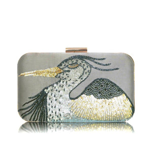 Beaded Rectangle Clutch Bag - Gold Heron