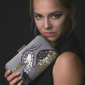 Woman Holding Beaded Rectangle Clutch Bag - Gold Heron
