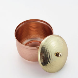 Copper trinket box with a brass lid