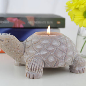 Handmade Soapstone Tealight Holder styled on a table