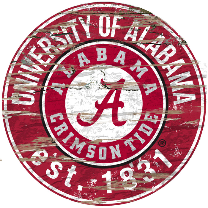 "Fan Cave Rugs:Alabama Distressed 24"" Round Sign"