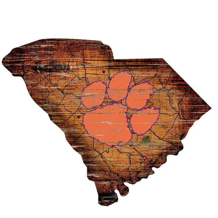 "Fan Cave Rugs:Clemson Distressed State with Logo 24"" Wall Art"