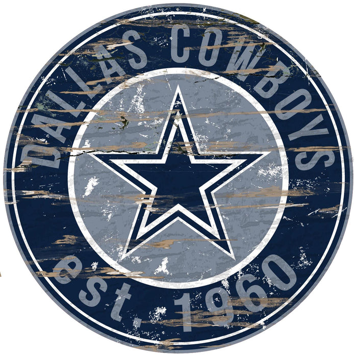 "Fan Cave Rugs:Dallas Cowboys Distressed 24"" Round Sign"