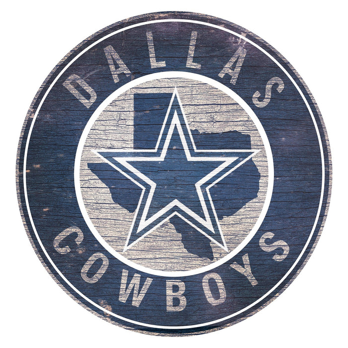 "Fan Cave Rugs:Dallas Cowboys State with Logo 24"" Round Sign"