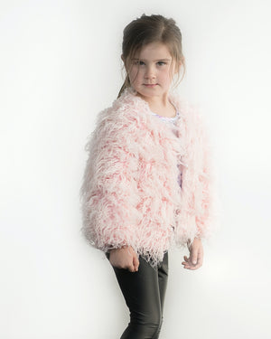Little Hearts Shaggy Faux Fur Jacket in Blush available at 2 Little Rascals
