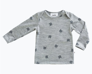 Mello Merino Mini Long Sleeve Tee in Grey Marle/Bat Boy available at 2 Little Rascals NZ