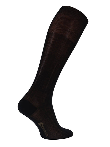 100% Stiped Mercerized Cotton Knee High Socks- Black