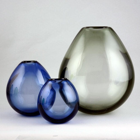 Per Lutken for Holmegaard, three soap bubble vases in blue and gray