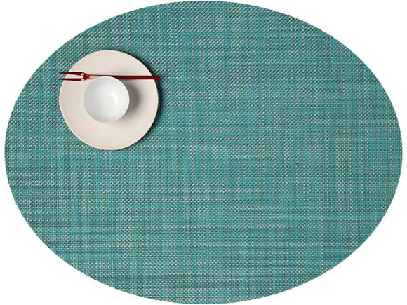 Chilewich Mini Basketweave Oval Turquoise Placemat