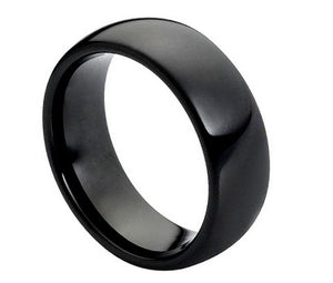 8mm High Polished Shiny Black IP Plated Classic Domed Tungsten Wedding Band Ring