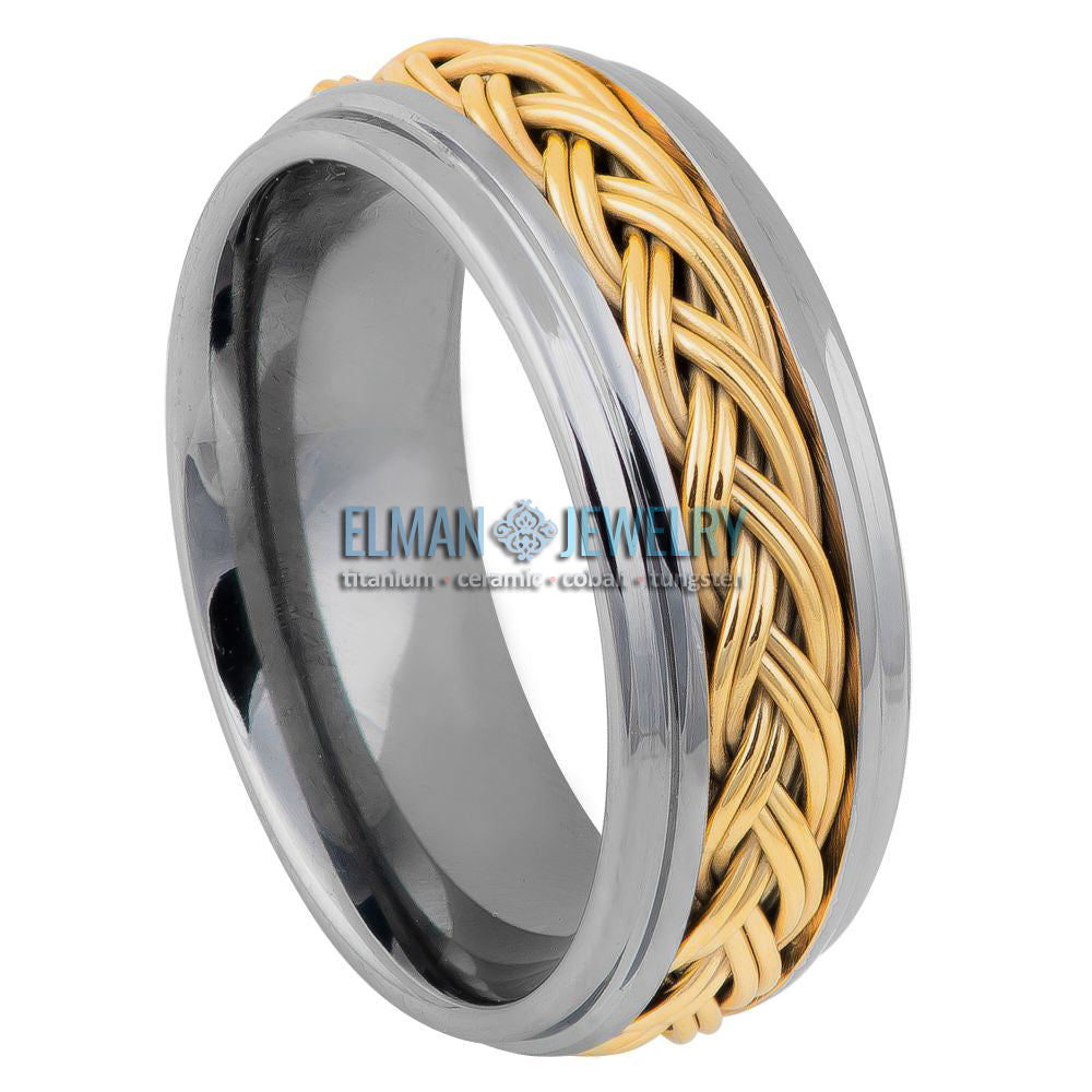 8mm Semi-Domed Tungsten Ring with Gold IP Double Braid Inlay