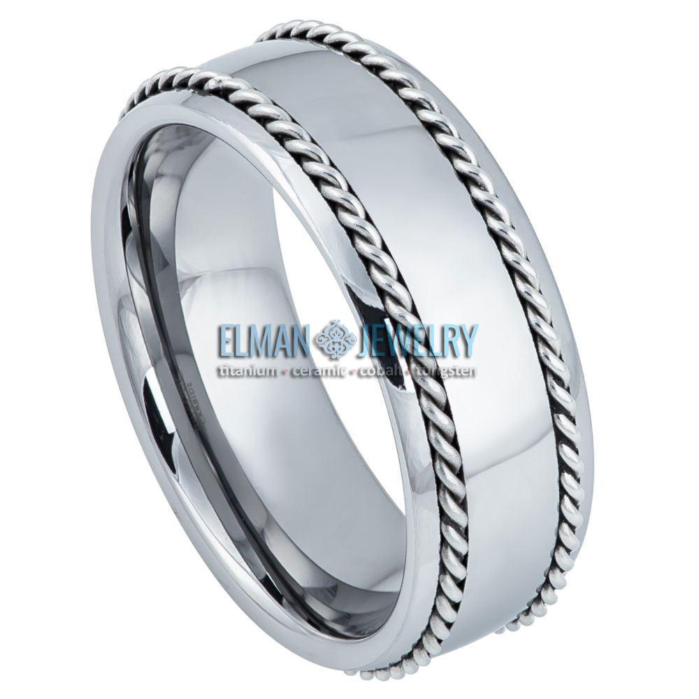 8mm Tungsten Ring with Stainless Steel Rope Inlay