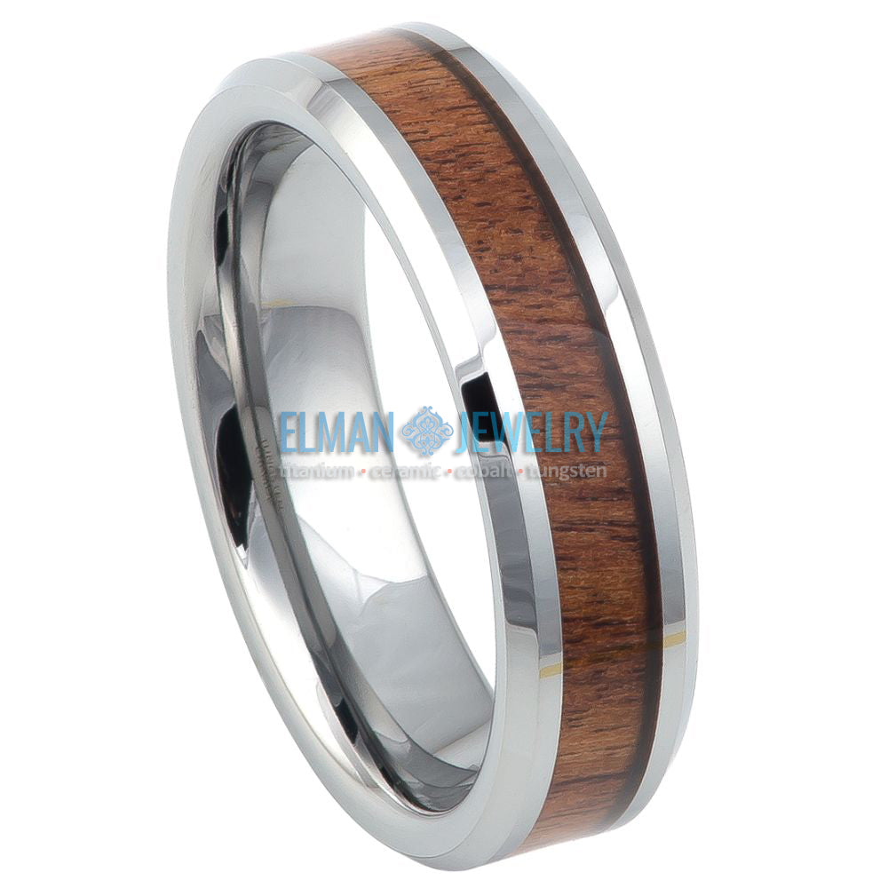 6mm Tungsten Carbide Ring High Polished with Mahogany Wood Inlay
