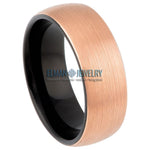 8mm Two-tone Black & Brushed Rose Gold IP Plated Domed Tungsten Carbide Ring